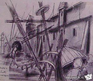 Vroege schets van het achtbaan-gedeelte van De Vliegende Hollander