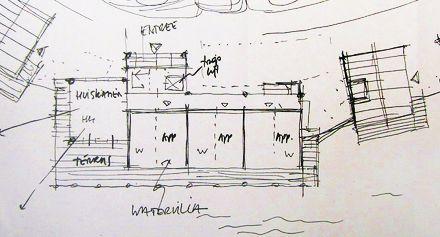 Tekening van een 'watervilla'